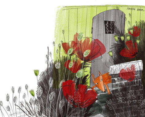 Fox and poppies