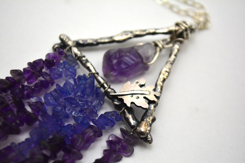 Winter witch pendant kayinem metal creations handmade jewelry this winter oak witch pendant features a fun array of amethyst and tanzanite beads the center free moving stone is a large gradiated amethyst crystal set aloadofball Gallery