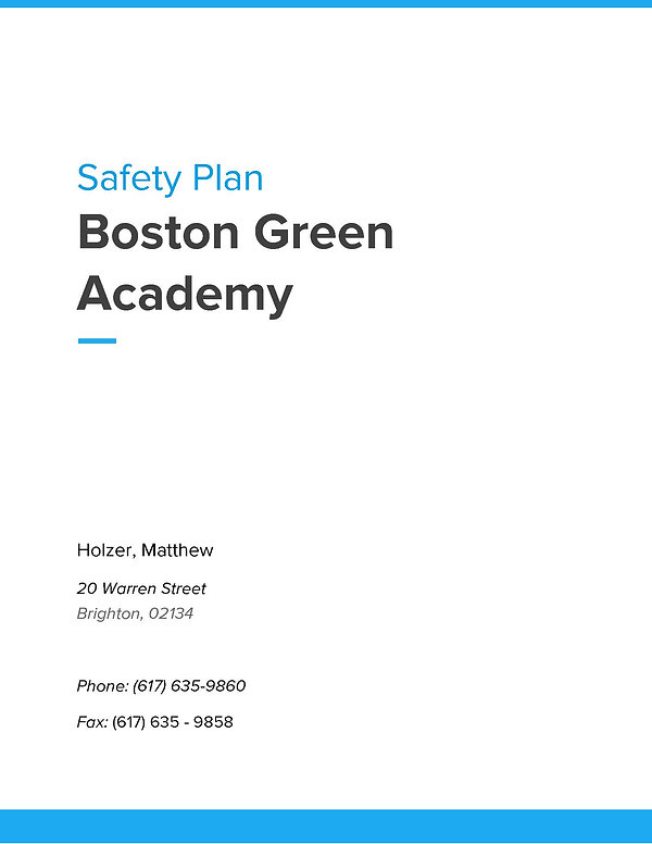 Boston Green Academy Safety Plan - SY19_