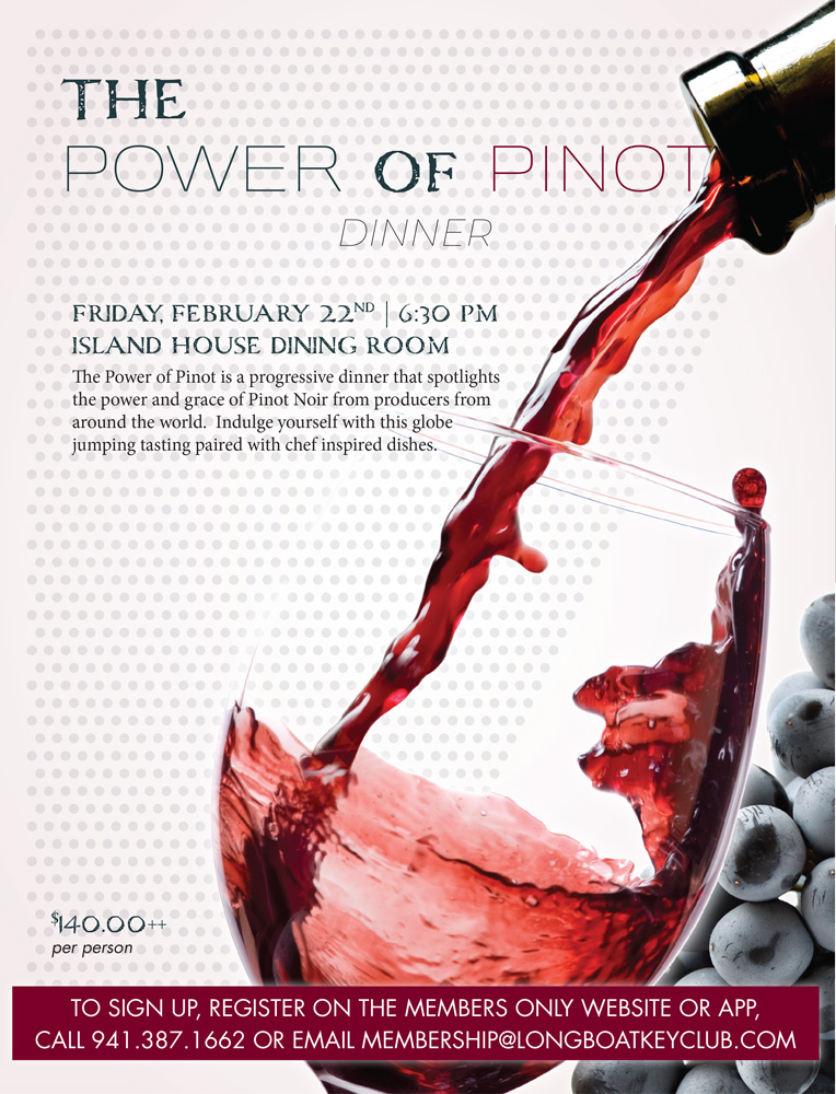 2019 The Power of Pinot Wine Dinner Ad