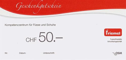 Geschenkgutscheine Friemel 50 Franken