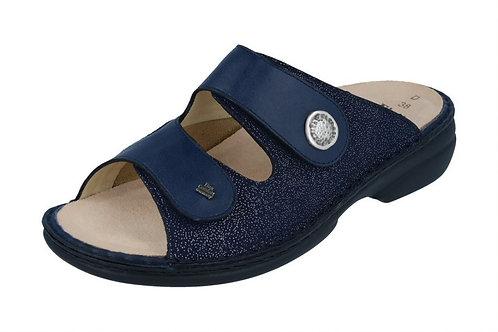 Finn Comfort Zeno Finnstretch blau Pantolette für Schuheinlagen