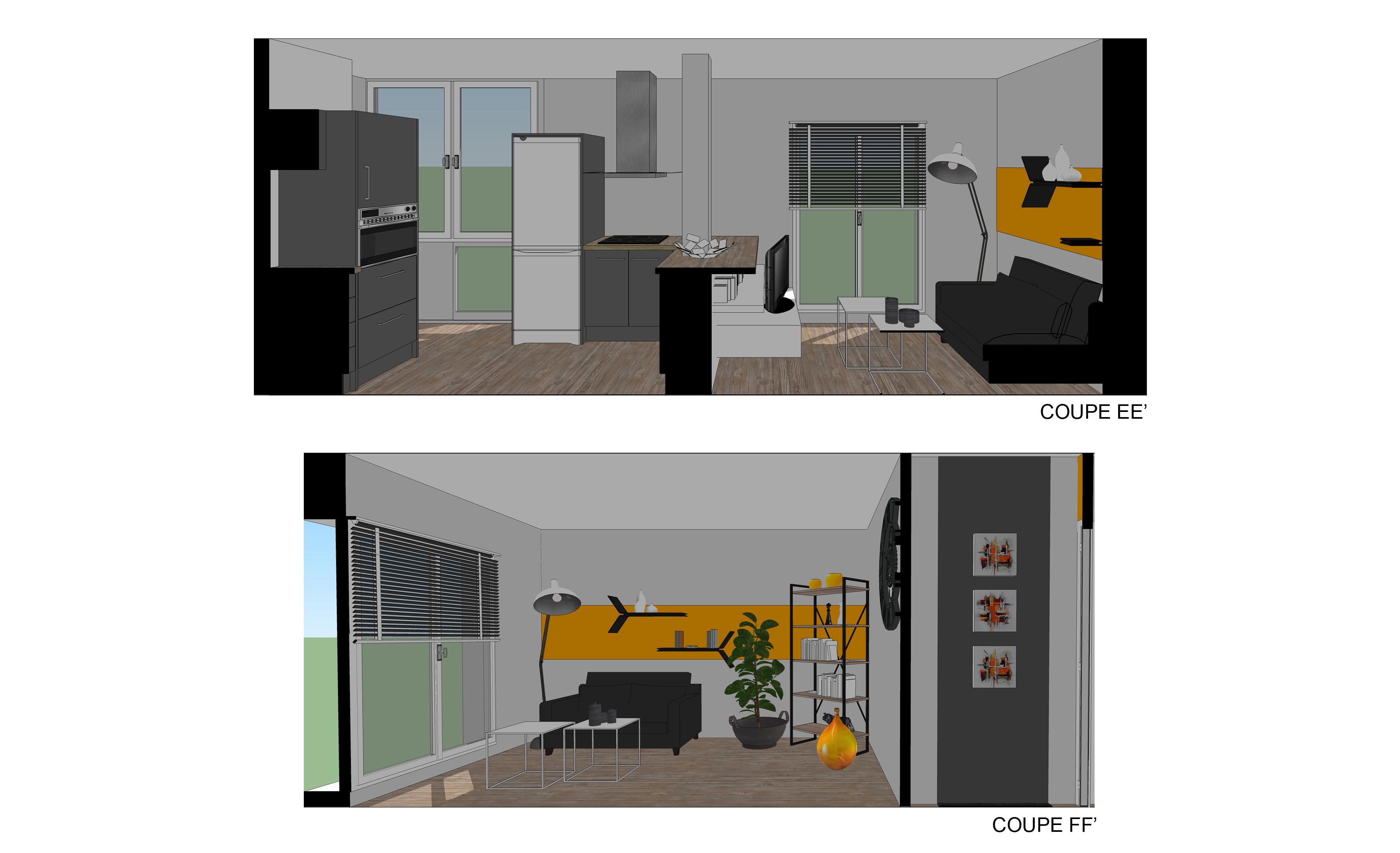 coupe 3 projet restructuration salon cuisine
