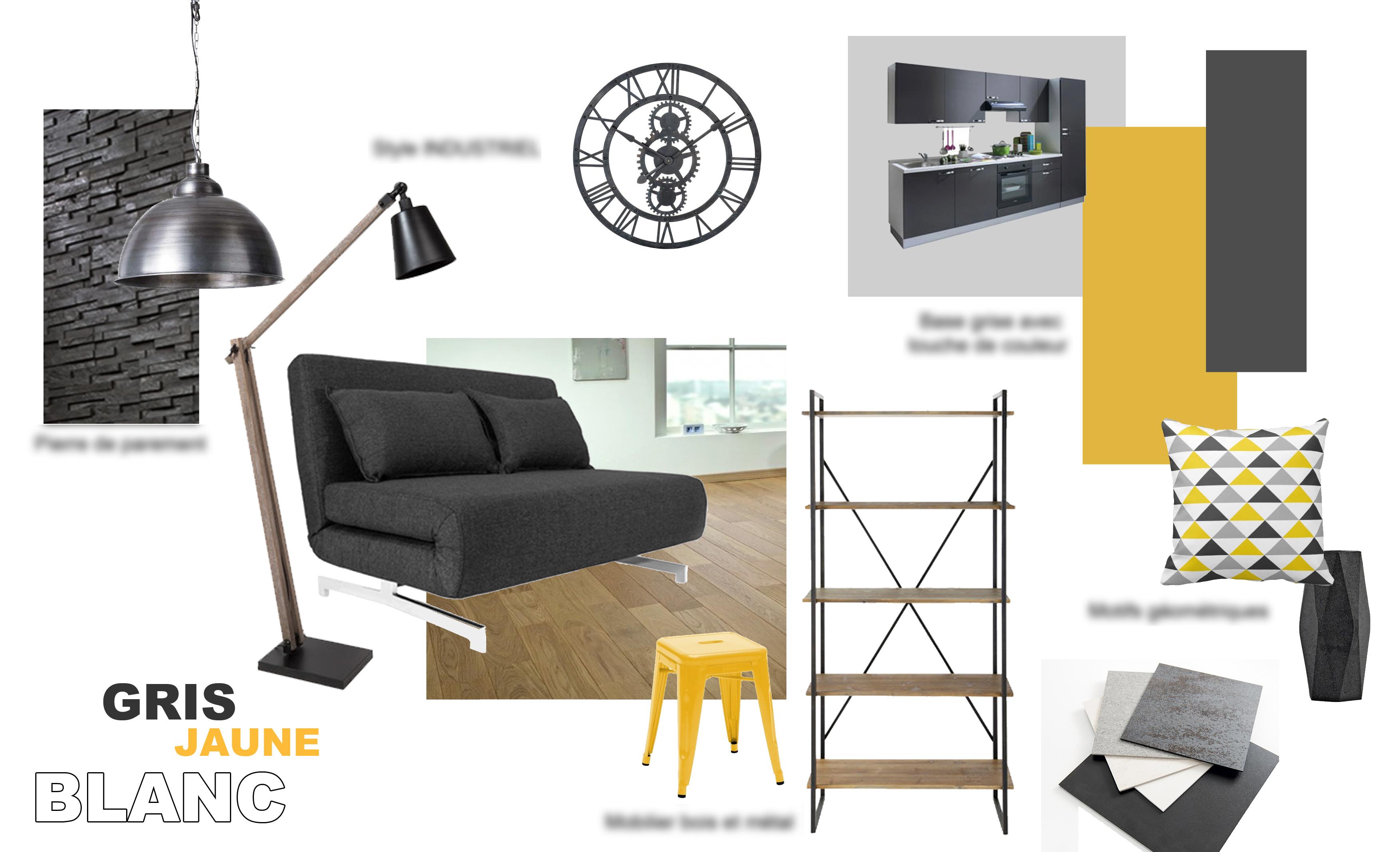 planche ambiance projet restructuration salon cuisine