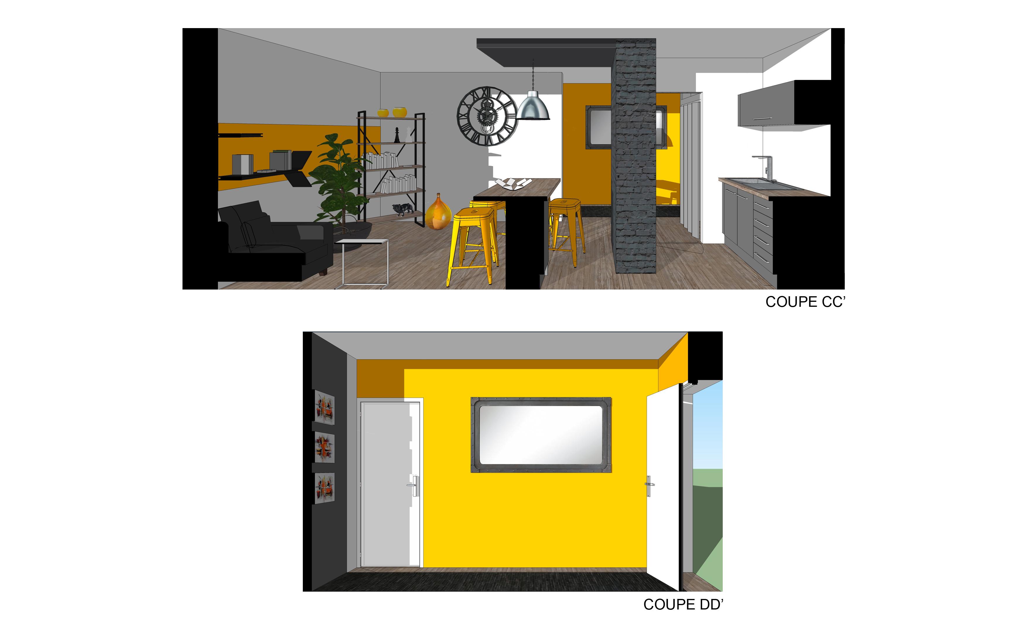 coupe 2 projet restructuration salon cuisine