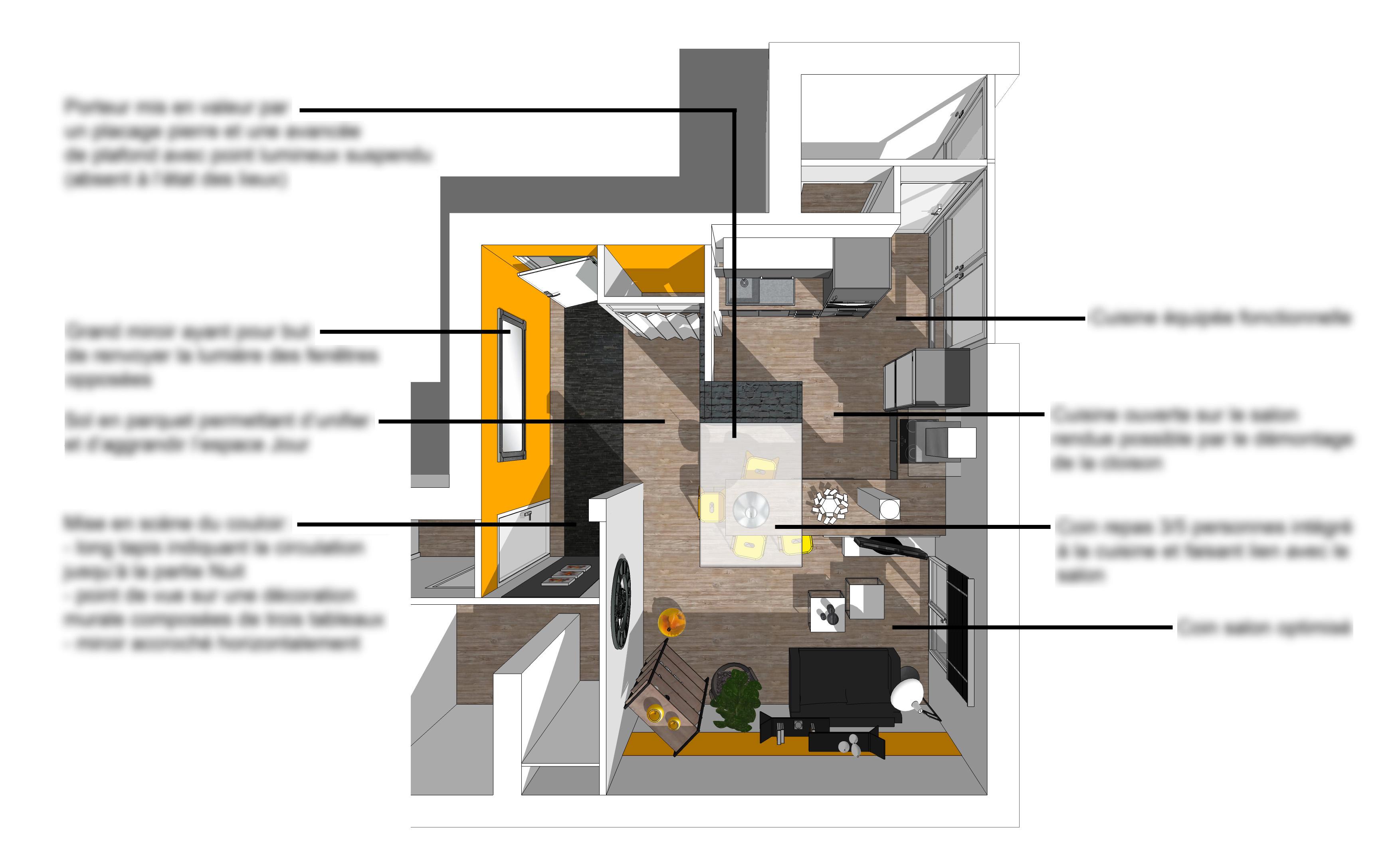 plan 3D projet restructuration salon cuisine