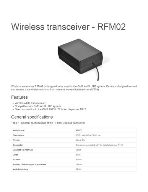 Wireless transceiver rfm02