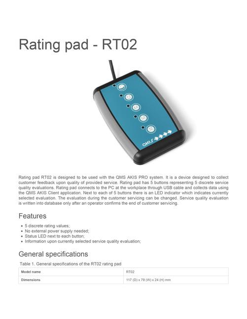 Rating pad rt02