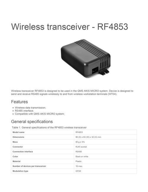 Wireless transceiver rf4853