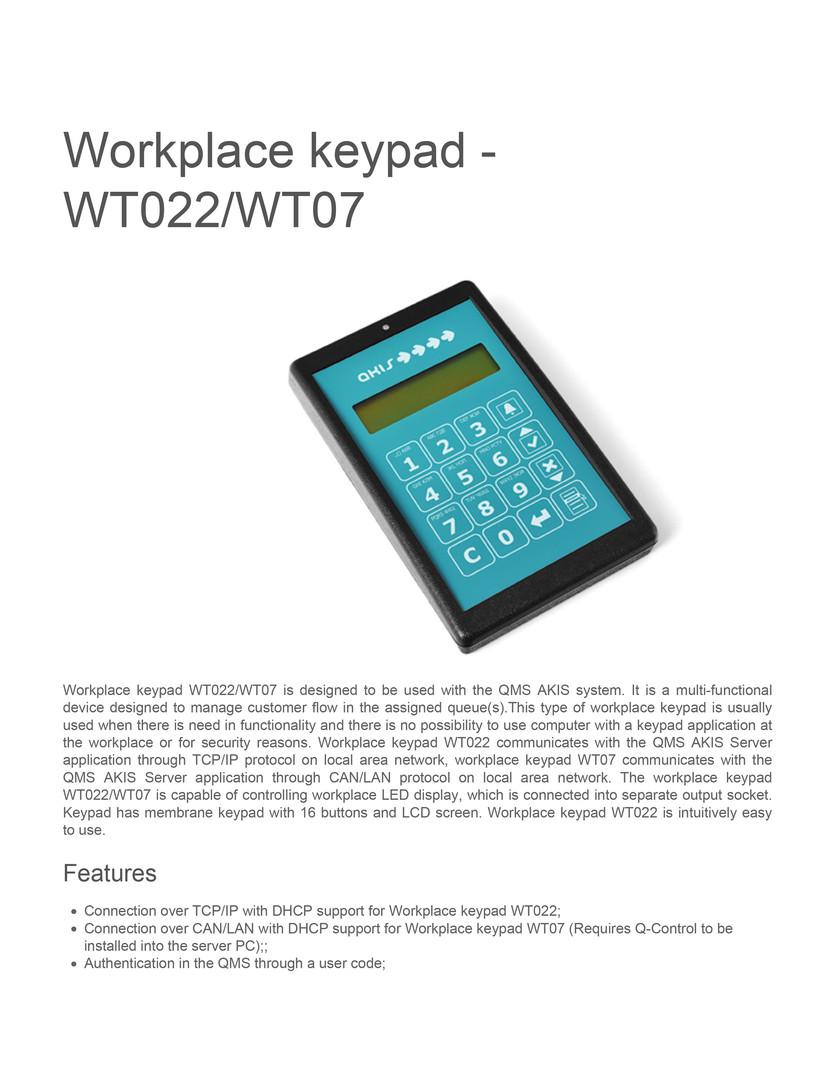 Workplace keypad wt022wt07