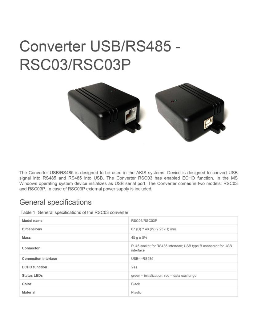 Converter usbrs485 rsc03rsc03p