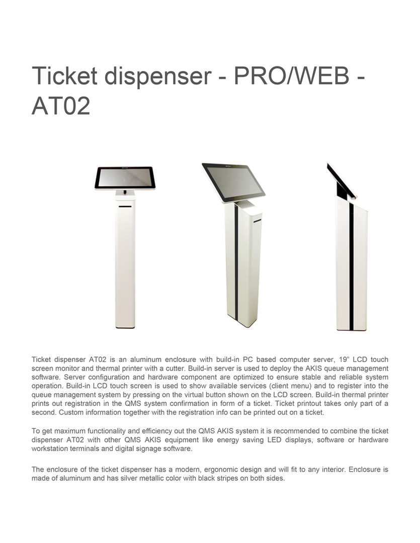 tiCKET dispenser proweb at02