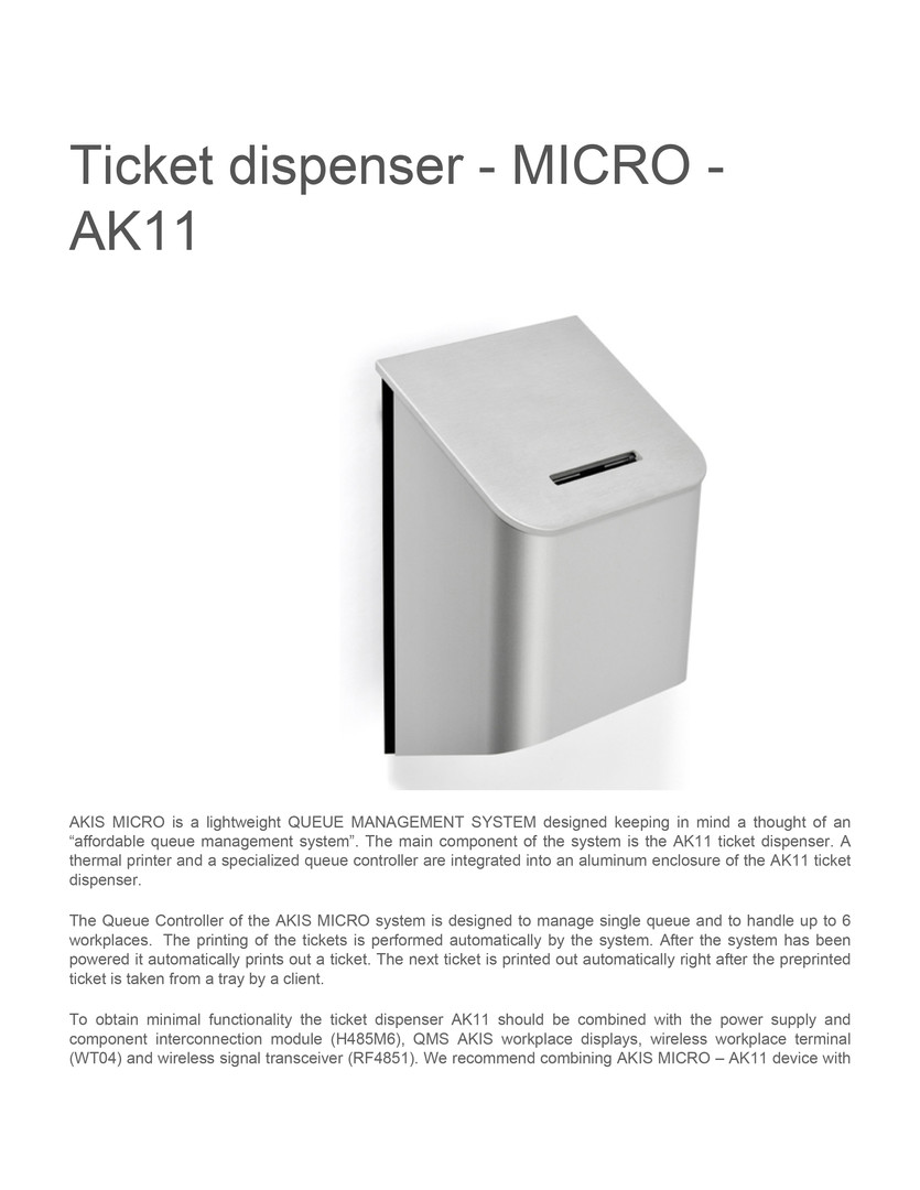 Ticket dispenser micro ak11