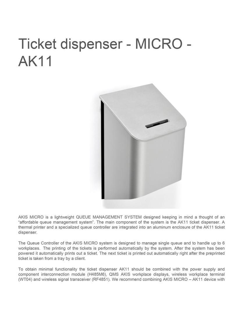 Ticket dispenser micro ak11