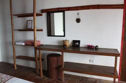 A simple dresser & open shelves.