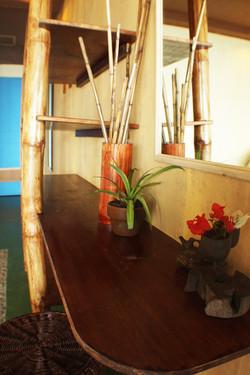 Simple & clean dresser & shelves.