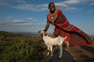 Woman and Goat, Masai Mara