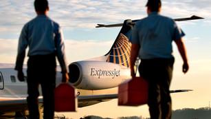 Express Jet Airlines aircraft maintenance.