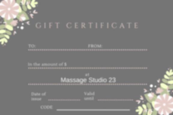 Massage Studio 23 Gift Certificate