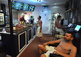 The friendly lounge at The Boiler Room Sauna Hove