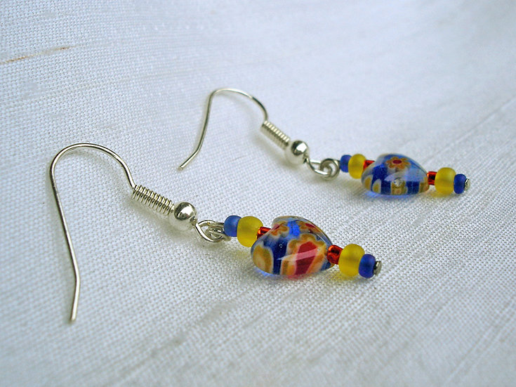 Blue, Red & Yellow Hearts Earrings