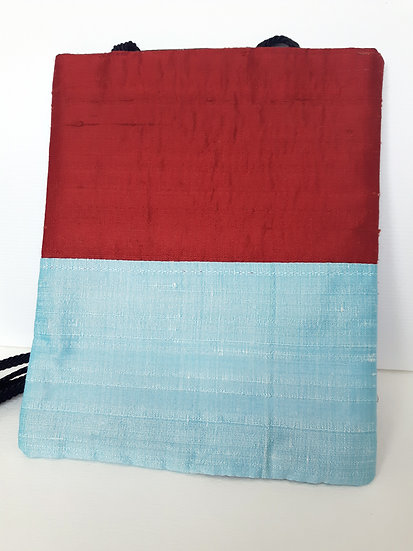 Silk Pouch Bag in Ice Blue, Red and Black