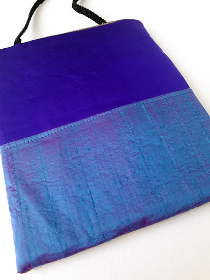 Silk Pouch Bag in Violet, Cerulean and Olive