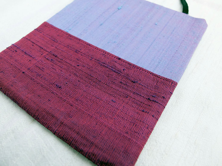 Silk Pouch Bag in Plum, Lilac & Silver