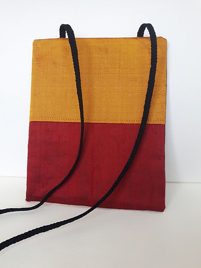 Silk Pouch Bag in Saffron, Garnet and Wine