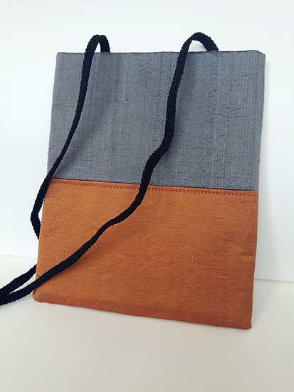 Silk Pouch Bag in Ginger, Pewter and Chocolate
