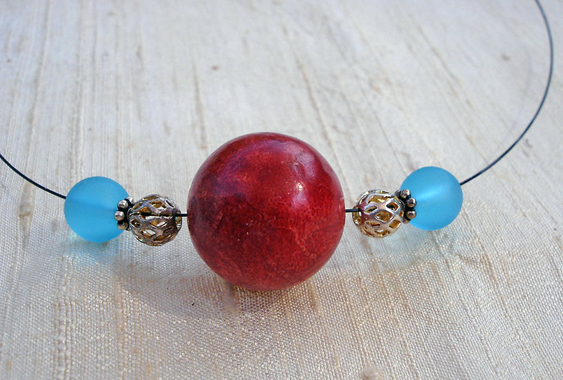 Blue Glass & Red Coral Necklace