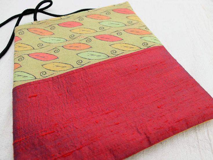 Silk & Cotton Pouch in Leaf Print