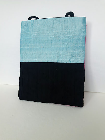 Silk Pouch Bag in Ice Blue, Black and Pink