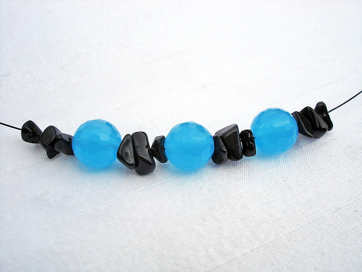 Aqua Glass & Onyx Necklace
