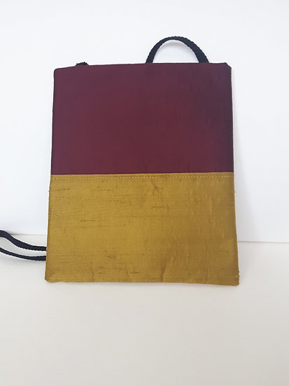 Silk Pouch Bag in Olive, Wine and Saffron