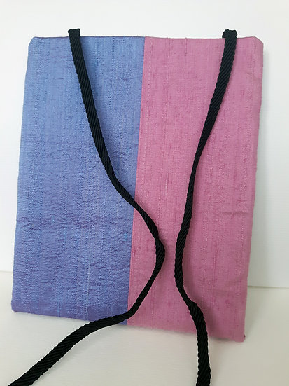 Silk Pouch Bag in Lilac, Magenta and Pink