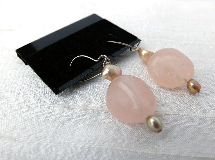 Rose Quartz & Freshwater Pearl Earrings