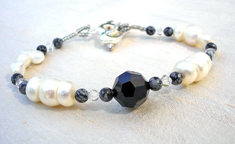 Obsidian & Pearl Bracelet