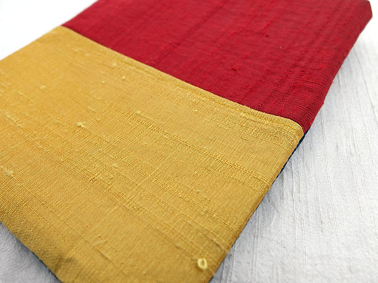 Silk Pouch Bag in Yellow, Red and Navy