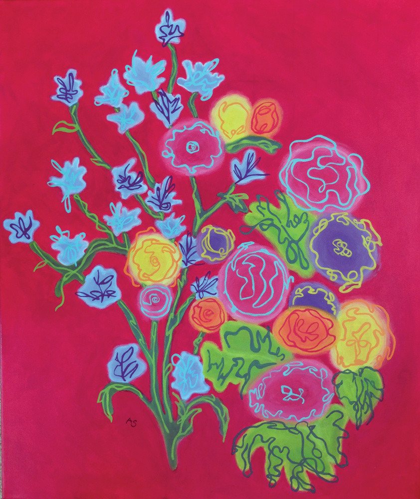 red bouqet flowers painting