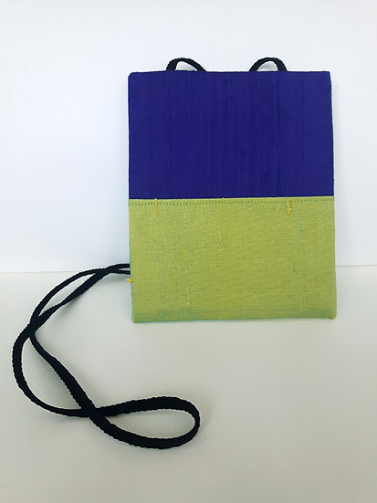 Silk Pouch Bag in Lime, Violet and Aqua