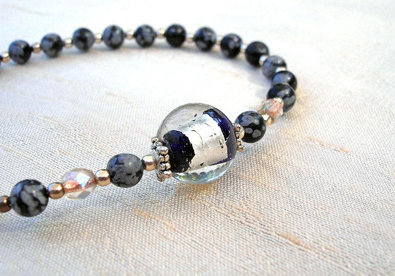 Obsidian & Silver Bracelet