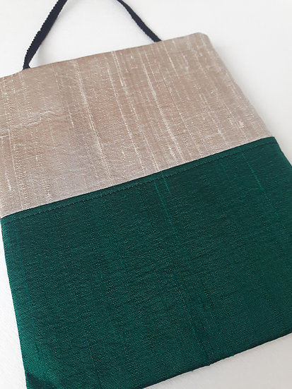 Silk Pouch Bag in Oatmeal, Emerald and Wine
