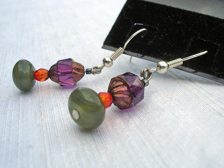 Olive, Brown & Orange Earrings