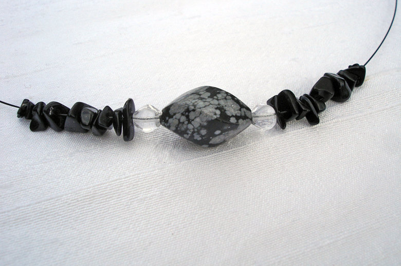Onyx & Obsidian Necklace Earrings Set