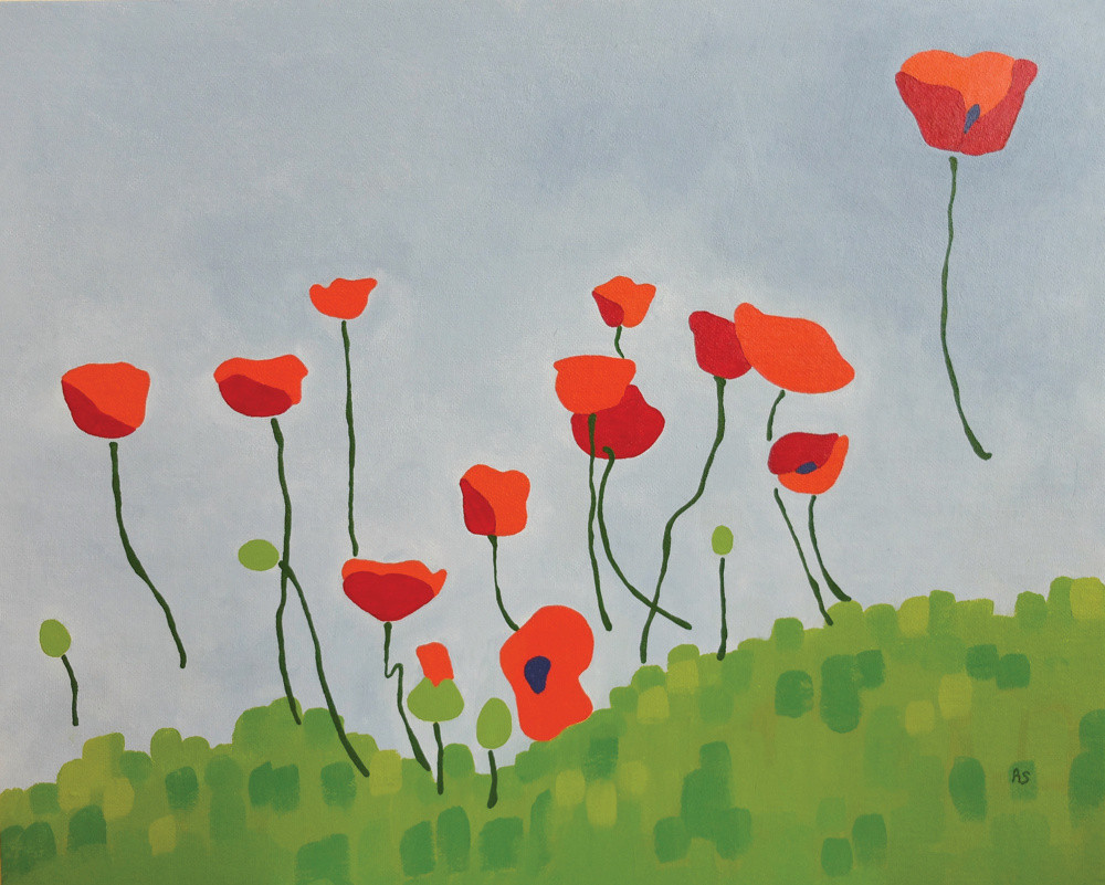poppies field acrylic