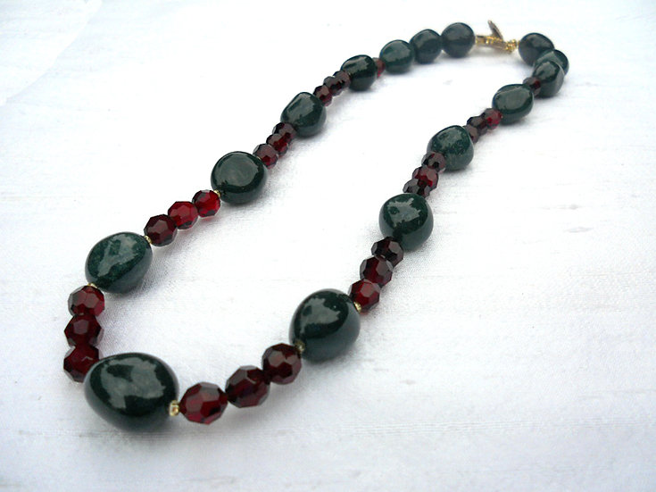Red Glass & Bloodstone Necklace