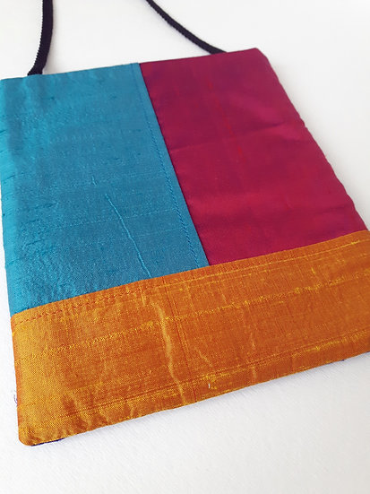 Silk Pouch Bag in Turquoise, Magenta, Orange & Violet