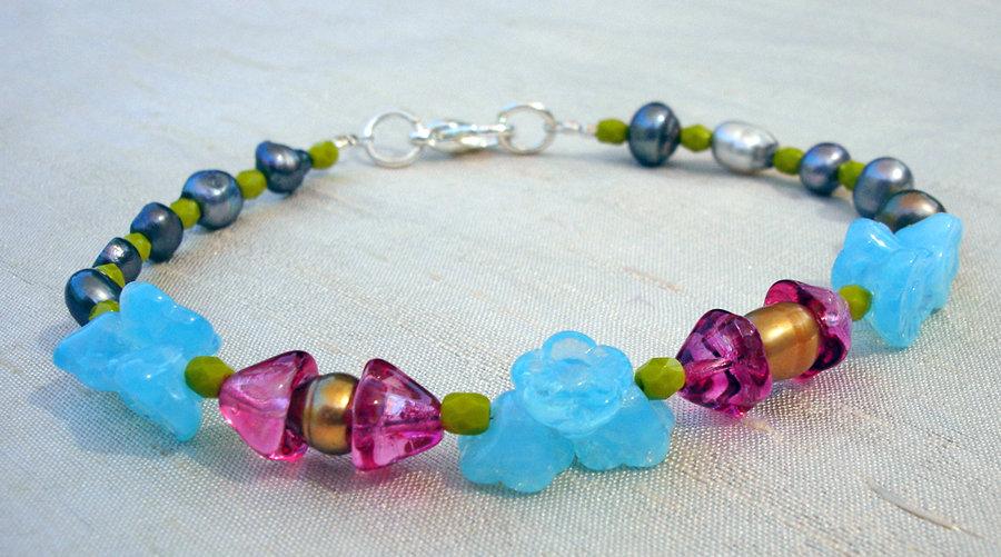 Aqua and Pink Flower Bracelet