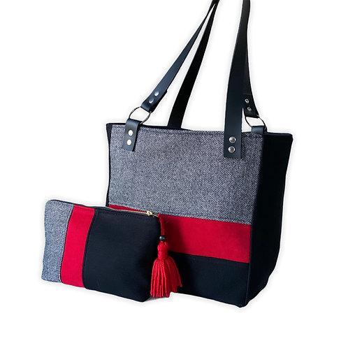 Siyah Kırmızı Yün Çanta-İkili